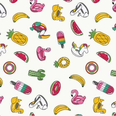 Tissu coton imprimé sourire coloré
