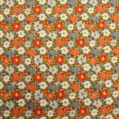 Tissu coton imprimé fleurs camille rouges bis