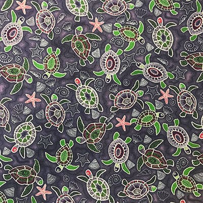 Tissu coton imprimé tortue fond violet