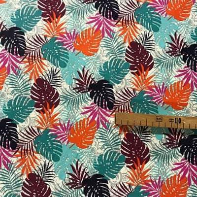 Tissu coton imprimé feuillages colorés mètre