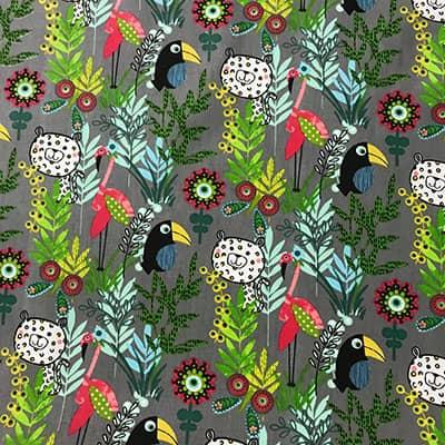 Tissu coton imprimé jungle toucan