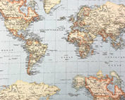 Tissu aspect lin carte du monde