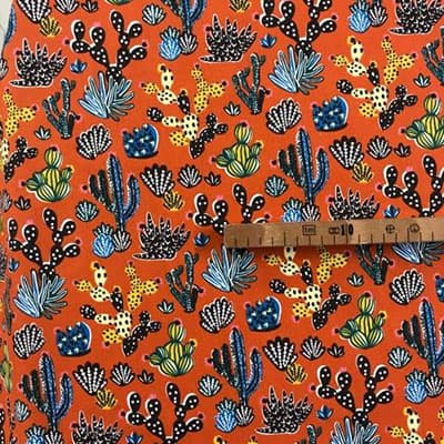 Tissu coton imprimé désert paprika mètre