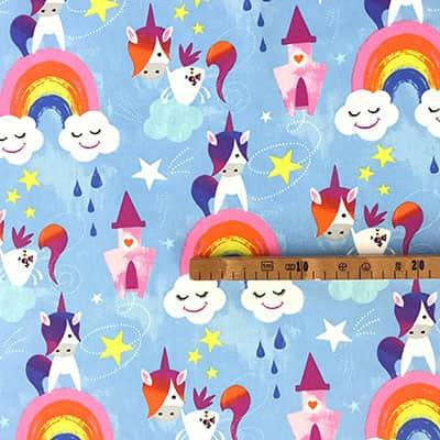 Tissu coton imprimé licorne mètre