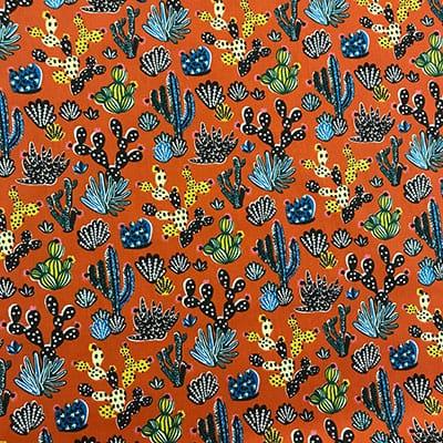 Tissu coton imprimé désert paprika