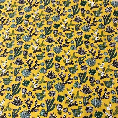Tissu coton imprimé désert moutarde de haut