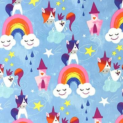 Tissu coton imprimé licorne