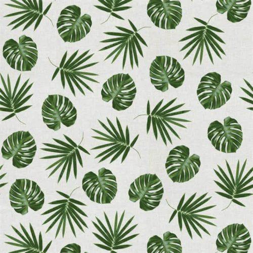 Tissu aspect lin feuilles