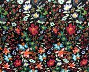 Simili Cuir fleurs noires
