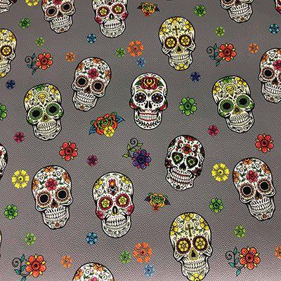 Simili Cuir Tête de Mort Mexicaine Gris