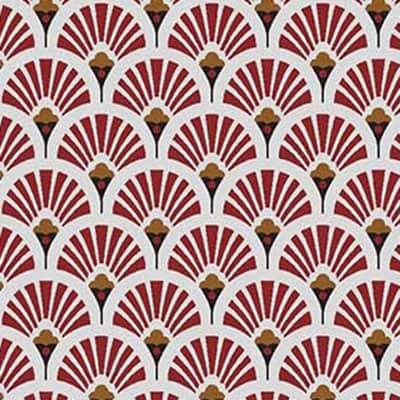 Tissu coton imprimé éventails rouge