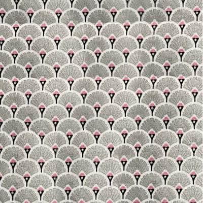 Tissu coton imprimé éventails argent