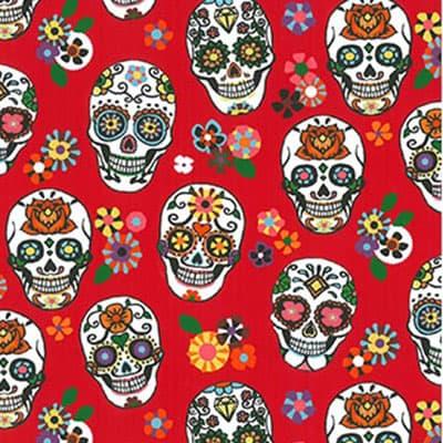 Tissu coton imprimé mexicano rouge