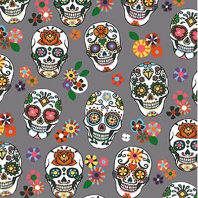 Tissu coton imprimé mexicano gris