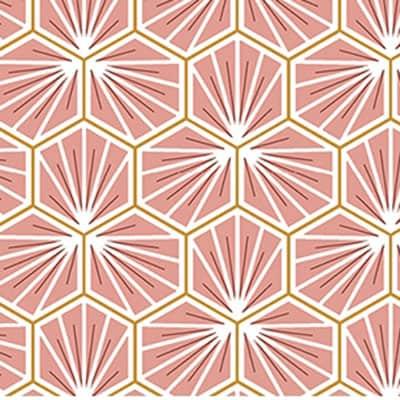 Tissu coton imprimé trèfle rose