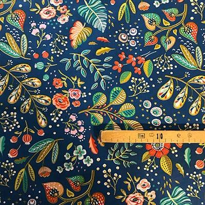Tissu coton imprimé fleuri avec mètre