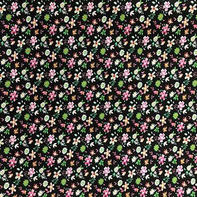 Tissu coton imprimé fleurs noires