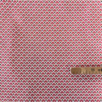Tissu coton imprimé éventails rouge avec mètre