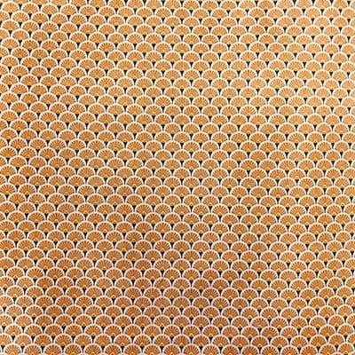 Tissu coton imprimé éventails orange