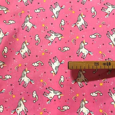 Tissu coton imprimé licorne bella avec mètre