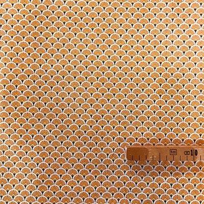Tissu coton imprimé éventails orange avec mètre