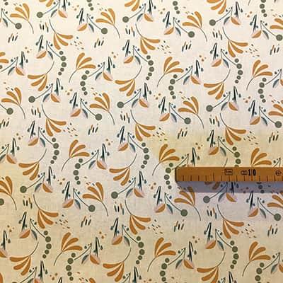 Tissu coton imprimé brise floral moutarde mètre