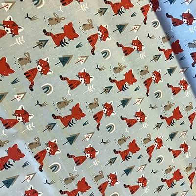 Tissu coton imprimé renard roux haut
