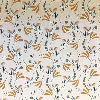 Tissu coton imprimé brise floral moutarde