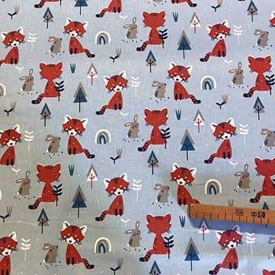 Tissu coton imprimé renard roux mètre