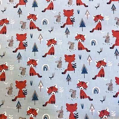 Tissu coton imprimé renard roux