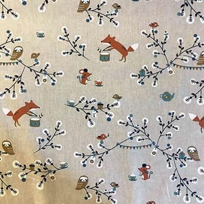 Tissu coton imprimé renard arbre