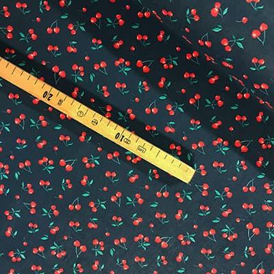 Tissu coton imprimé cerise mètre