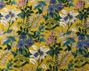 Tissu coton imprimé fleuri moutarde