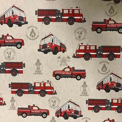 Tissu aspect lin camion pompier