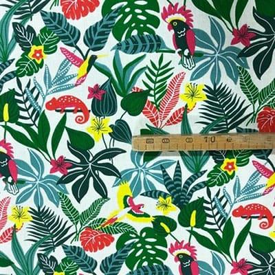 Tissu coton imprimé jungle toucan mètre