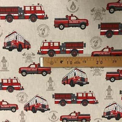 Tissu aspect lin camion pompier mètre