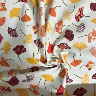 Tissu coton imprimé ginkgo froissé