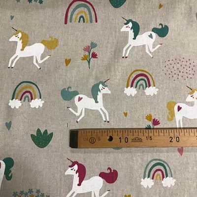Tissu aspect lin licorne mètre
