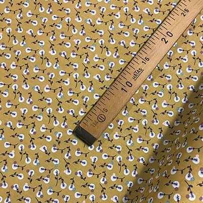 Tissu coton imprimé isis moutarde mètre