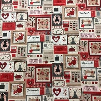 Tissu coton imprimé esprit couture