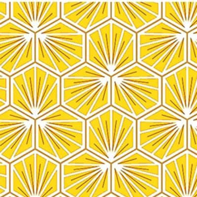 Tissu coton imprimé trèfle jaune