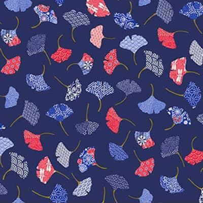 Tissu coton imprimé ginkgo marine