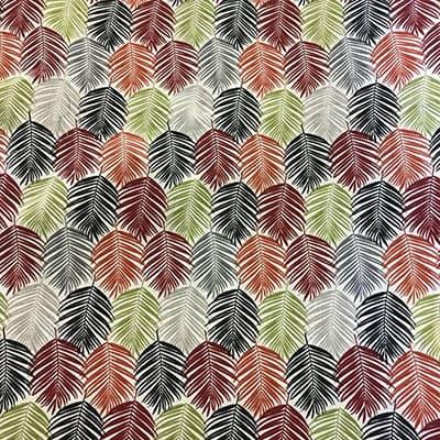 Tissu coton imprimé feuillages colorés