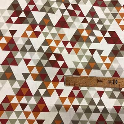 Tissu coton imprimé triangles bordeaux mètre