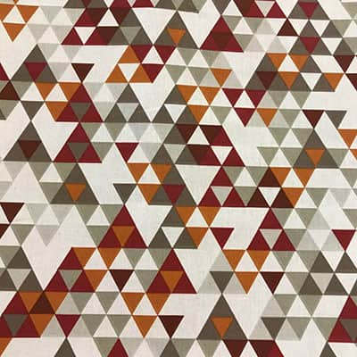 Tissu coton imprimé triangles bordeaux