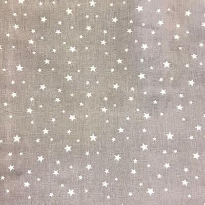 Tissu coton imprimé étoile gris