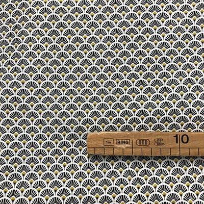 Tissu coton imprimé éventails noir mètre