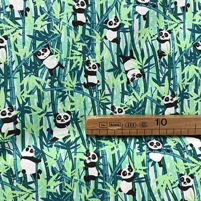 Tissu coton imprimé panda vert mètre
