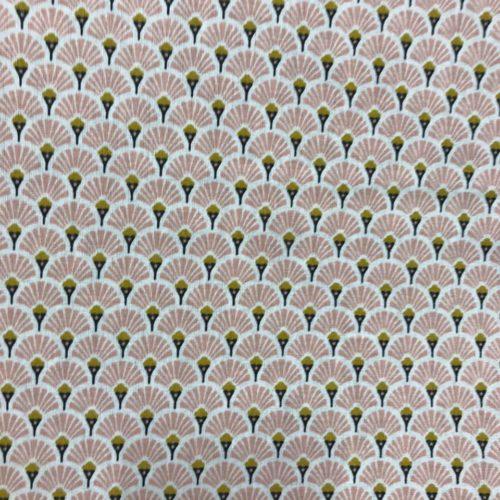 Tissu coton imprimé éventails rose
