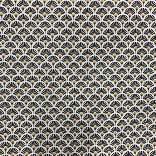 Tissu coton imprimé éventails noir
